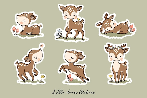Little deers stickers collection with cartoon characters in hand drawn style