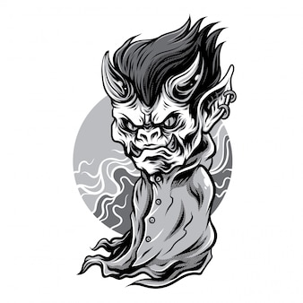 Little demon black and white illustration