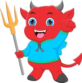 Little devil cartoon holding trident