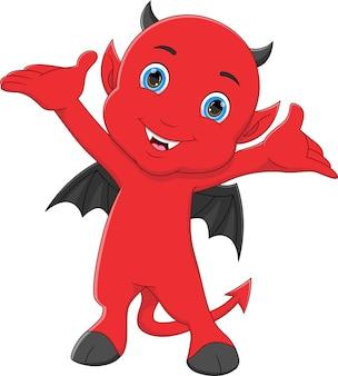 Little devil cartoon waving on white background