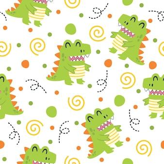小さな恐竜パターンイラストデザイン