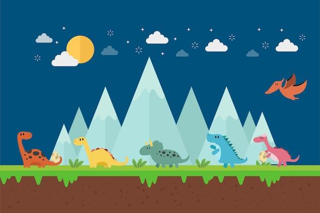 Little dinosaurs walking on blue mountain