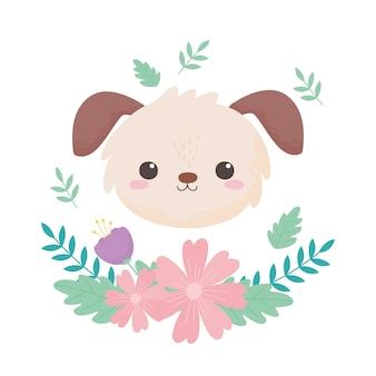 작은 개 머리 꽃 잎 만화 동물 벡터 일러스트 레이 션