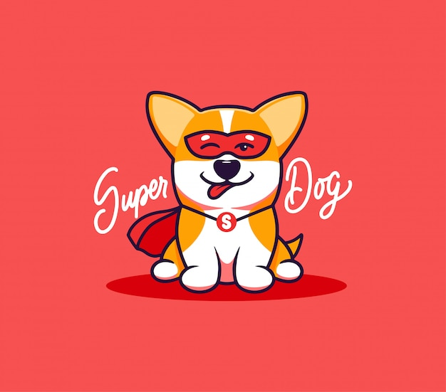 A little dog, logo with text super dog. funny corgi cartoon character
