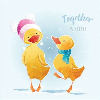 Little duck and his friend in the christmas