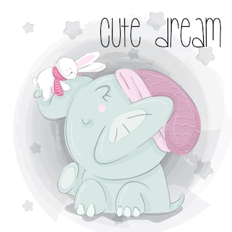 Little elephant dream  hand draw illustration