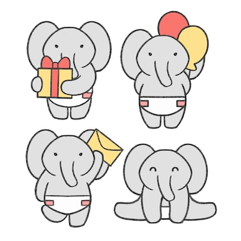 Little elephant hand drawn cartoon collection