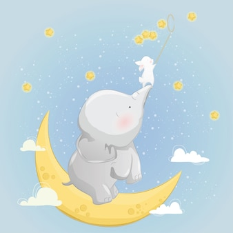 The little elephant helps the bunny to catch stars