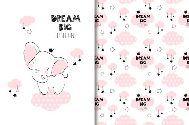 Иллюстрация маленького слона Premium векторы