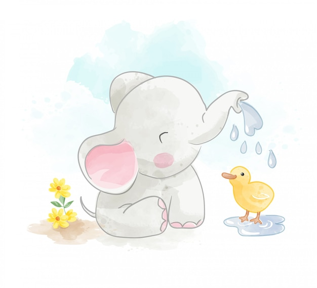 Little elephant and little duck illustration