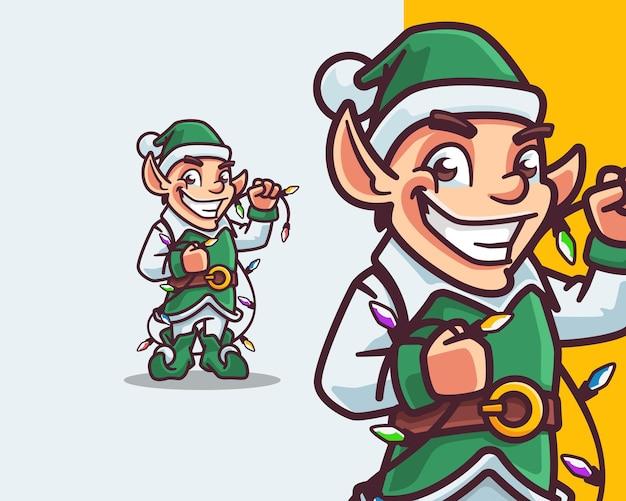 クリスマスの装飾のための小さなエルフの漫画のキャラクター