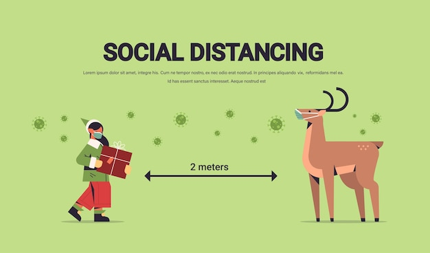 Little elf santa claus helper with reindeer in masks keeping social distance to prevent coronavirus happy new year merry christmas holidays celebration concept full length horizontal copy space vector