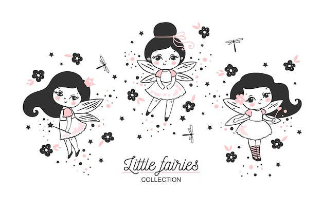 Little fairies collection with magic wands