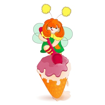 Little fairy digging spoon great big ice cream in a waffle cup.