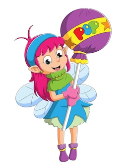 The little fairy girl is holding the big lollipop of illustration