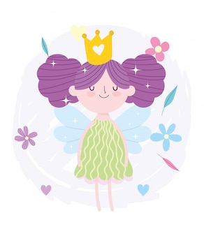 Маленькая сказочная принцесса пучок волос с короной и цветы сказка мультфильм