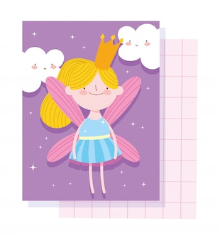 Little fairy princess tale cartoon character with crown