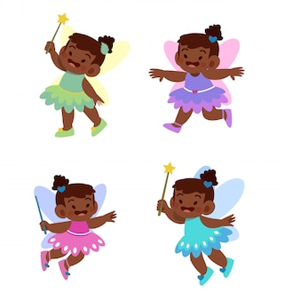 Little fairy princess vector illustration set