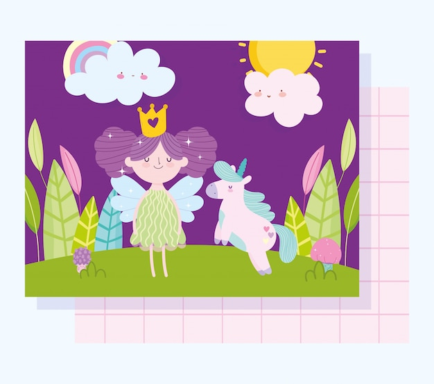 Маленькая сказочная принцесса с единорогом сказка мультфильм облака лес