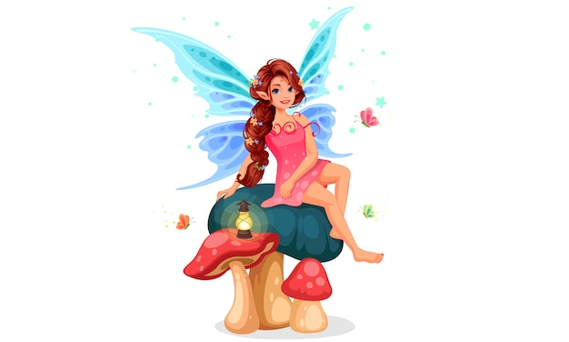 Маленькая фея сидит на грибе