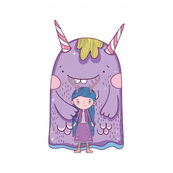 Little fairy with monster characters
