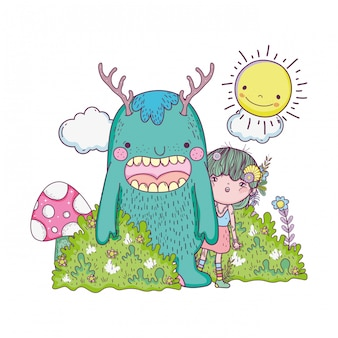 Little fairy with monster in the field