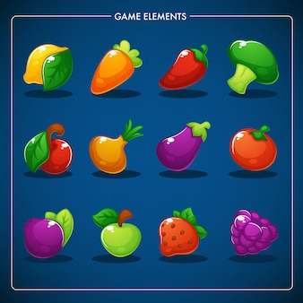 Little farm, match mobile game, games objects, fegetables, fruits and berries