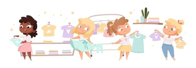 小さなファッショニスタ。かわいい女の子は服を選び、ドレスやtシャツを試着します。漫画フラットイラスト