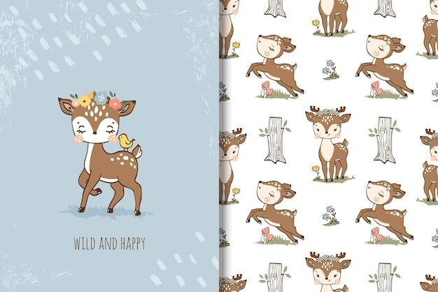 小さな子鹿の漫画のシームレスなパターンの図