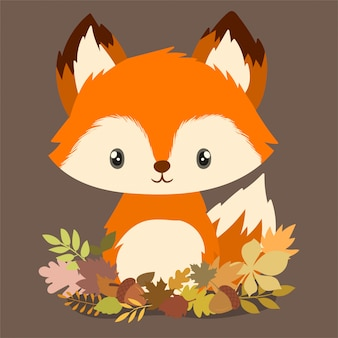 Little fox between autumn leaves