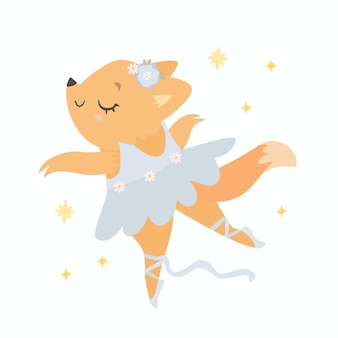 Little fox dressed as a ballerina