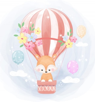 Little fox flying with air balloon