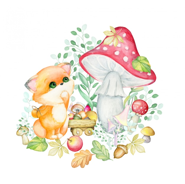 Маленькая лиса . лесная красная лиса с осенними листьями, грибами