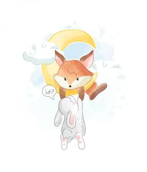 Маленькая лисица помогает кролику подняться на луну иллюстрация