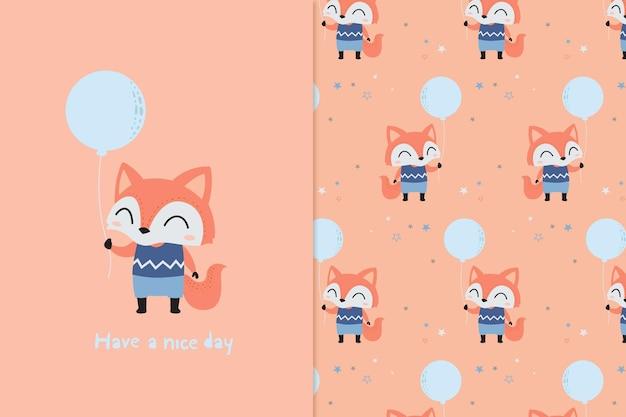 小さなキツネのイラストとパターン