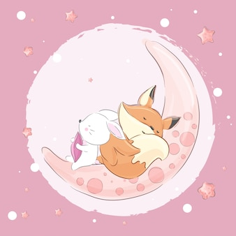 Little fox  rabbit sleeping on the moon-vector