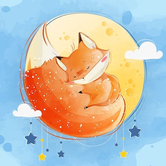 Little fox sleeping on its tail