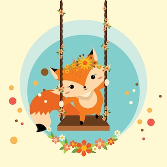 Little fox standing on a swinging
