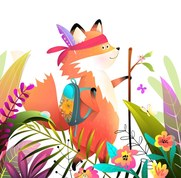 Little fox walking or hiking with stick in the lush nature of forest or park, kids adventures animal cartoon, bright and colorful.