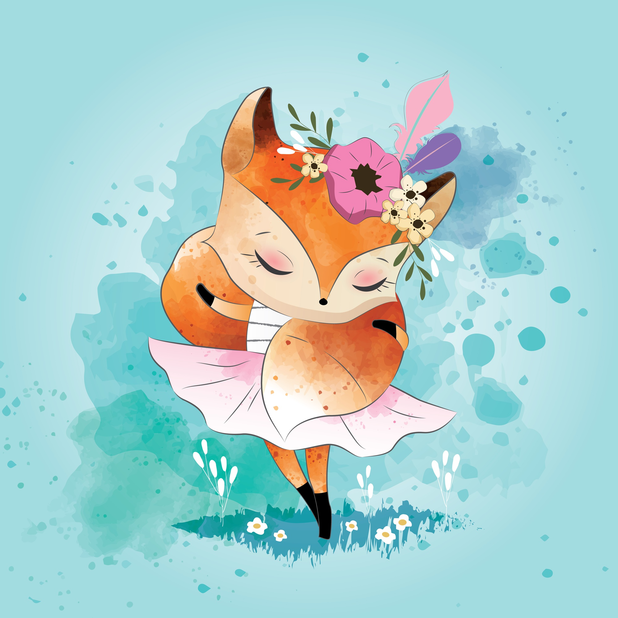Little Fox with Its Tail Scarf