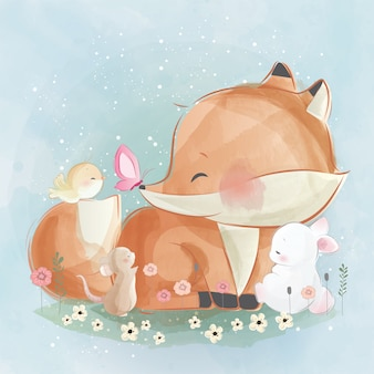 Little foxy and his friends