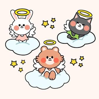 Little friends angel costume doodle illustration set