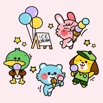 Little friends selling ice cream doodle illustration set