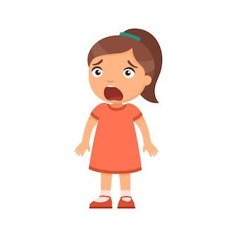 얼굴에 강렬한 감정을 가진 작은 겁 먹은 소녀 아이
