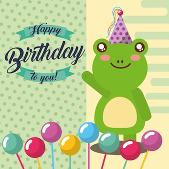 Little frog and balloons in stick celebration