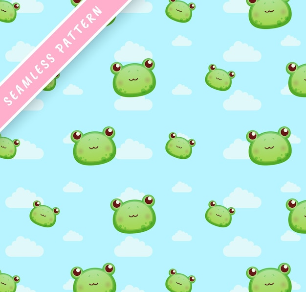 Little frog heads and clouds seamless pattern