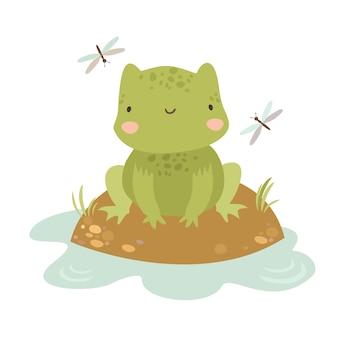 Маленькая лягушка в болоте Бесплатные векторы