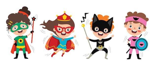Little funny cartoon superheroes posing