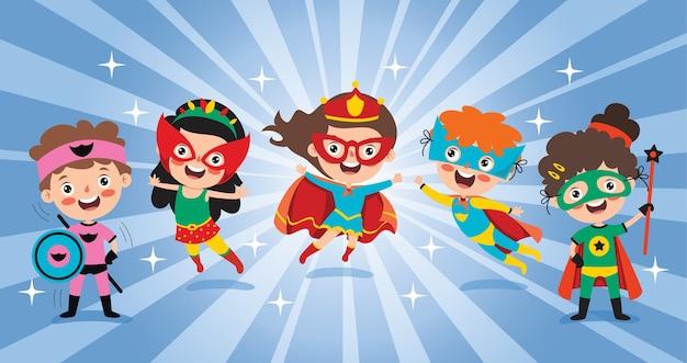 Маленькие забавные мультяшные супергерои позируют