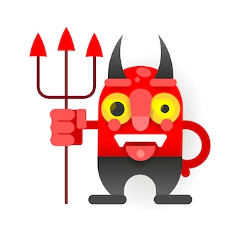 Маленький смешной дьявол в мультяшном стиле для вашего дизайна